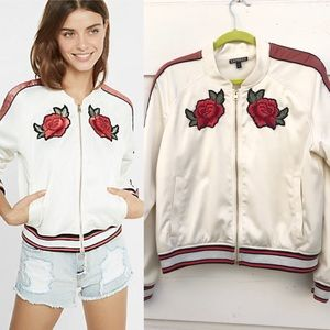 EXPRESS Rose Embroidered Bomber Jacket